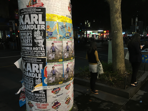 Column-based MICF posters on Swanston Street, 7 April 2016